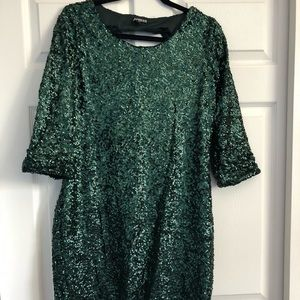 Green sequins mini Express dress